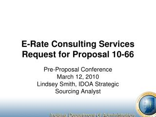 E-Rate Consulting Services Request for Proposal 10-66