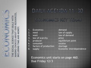 Daily Agenda 11/30