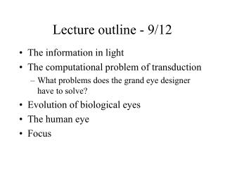 Lecture outline - 9/12