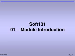Soft131 01 – Module Introduction