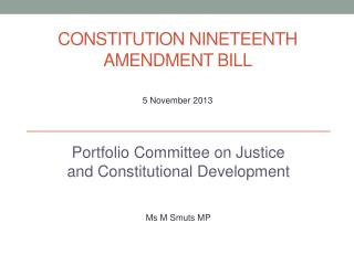 Constitution  Nineteenth Amendment Bill