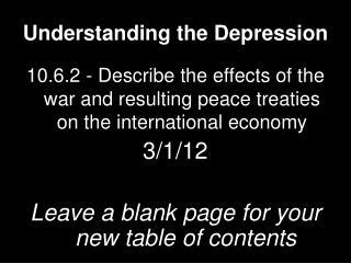 Understanding the Depression
