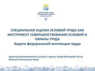 Директор Департамента условий и охраны труда Минтруда России Валерий Анатольевич Корж