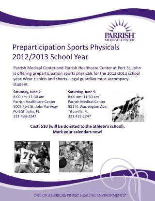 Preparticipation Sports Physicals 2012/2013 School Year