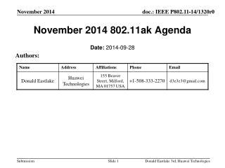 November 2014  802.11ak Agenda