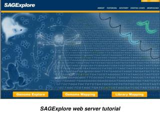 SAGExplore web server tutorial