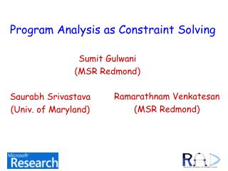 Program Analysis as Constraint Solving