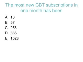 The most new CBT subscriptions in one month has been