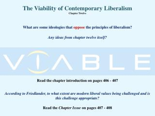 The Viability of Contemporary Liberalism Chapter Twelve
