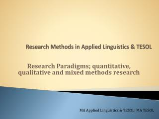 Research Methods in Applied Linguistics & TESOL