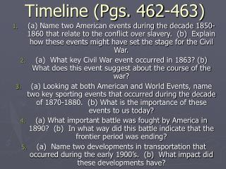 Timeline (Pgs. 462-463)