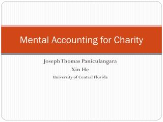 Mental Accounting for Charity