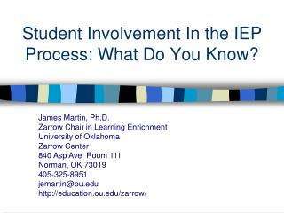 Student Involvement In the IEP Process: What Do You Know?