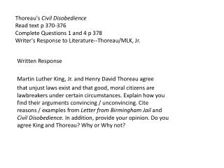 Written Response Martin Luther King, Jr. and Henry David Thoreau agree