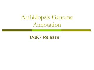 Arabidopsis Genome Annotation