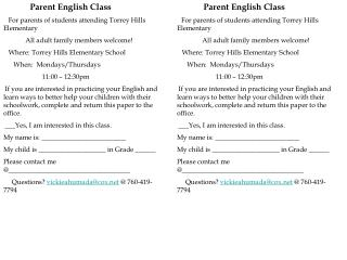 Parent English Class For parents of students attending Torrey Hills Elementary