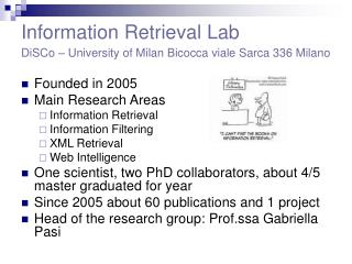 Information Retrieval Lab DiSCo – University of Milan Bicocca viale Sarca 336 Milano