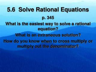 5.6  Solve Rational Equations