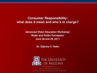 Consumer Responsibility: what does it mean and who's in charge?