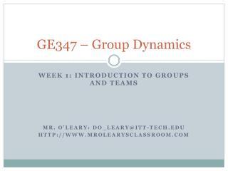 GE347 – Group Dynamics