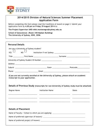 Personal Details Are you a University of Sydney student?