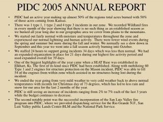 PIDC 2005 ANNUAL REPORT