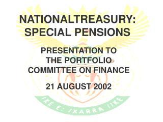 NATIONALTREASURY: SPECIAL PENSIONS