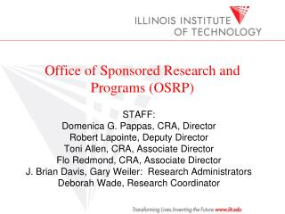 Office of Sponsored Research and Programs (OSRP)