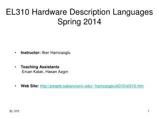 EL310 Hardware Description Languages Spring 20 14