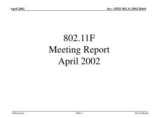 802.11F Meeting Report April 2002