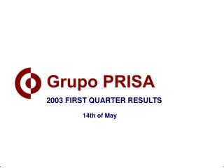 2003 FIRST QUARTER RESULTS