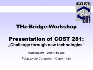 "THz-Bridge-Workshop Presentation of COST 281: ""Challenge through new technologies"""
