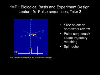 fMRI: Biological Basis and Experiment Design Lecture 9:  Pulse sequences, Take 3