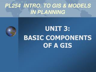 PL254 INTRO. TO GIS & MODELS IN PLANNING
