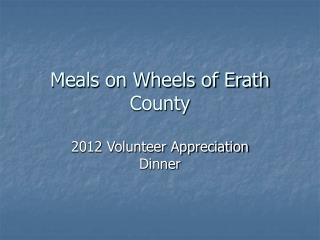 Meals on Wheels of Erath County