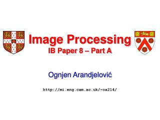 Image Processing IB Paper 8 – Part A