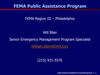 FEMA Public Assistance Program