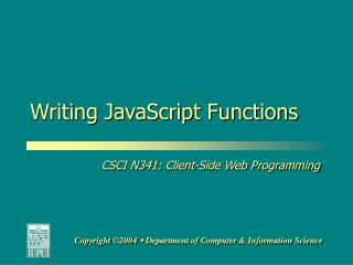 Writing JavaScript Functions
