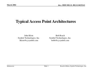Typical Access Point Architectures