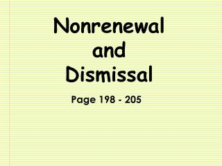 Nonrenewal  and Dismissal