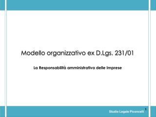 Modello organizzativo ex D.Lgs. 231/01