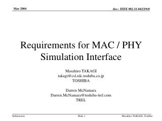 Requirements for MAC / PHY Simulation Interface