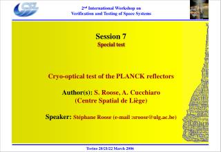 Session 7 Special test Cryo-optical test of the PLANCK reflectors