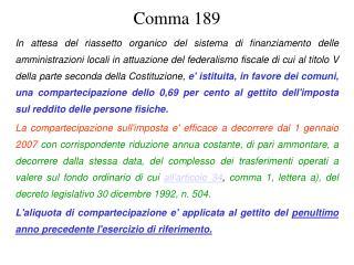 Comma 189