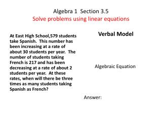 Algebra 1 Section 3.5 Solve problems using linear equations