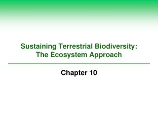 Sustaining Terrestrial Biodiversity:  The Ecosystem Approach