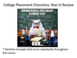 College Placement Chemistry: Year In Review