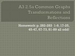 A3 2.5a Common Graphs Transformations and Reflections