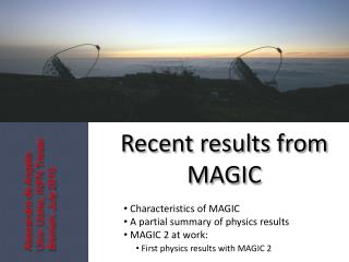 Recent results from MAGIC