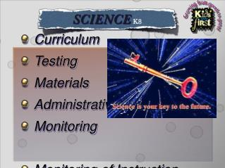 Curriculum Testing Materials Administrative Monitoring Monitoring of Instruction